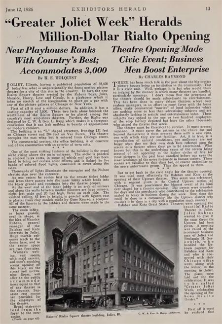 photo of Transcribed Article from Greater Joliet Week, June 1926